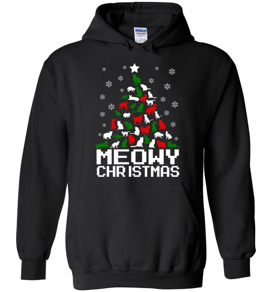 Meowy Christmas Sweater Cat Ugly Christmas Sweater Have A Meowy Catmas - Hoodie - Black / M