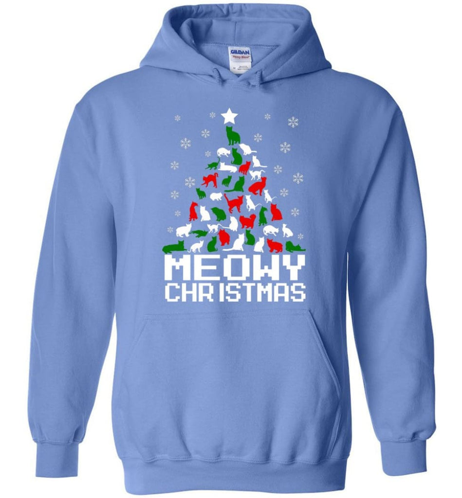 Meowy Christmas Sweater Cat Ugly Christmas Sweater Have A Meowy Catmas - Hoodie - Carolina Blue / M