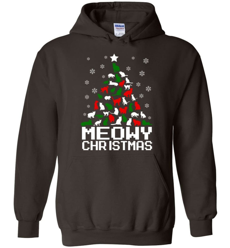 Meowy Christmas Sweater Cat Ugly Christmas Sweater Have A Meowy Catmas - Hoodie - Dark Chocolate / M