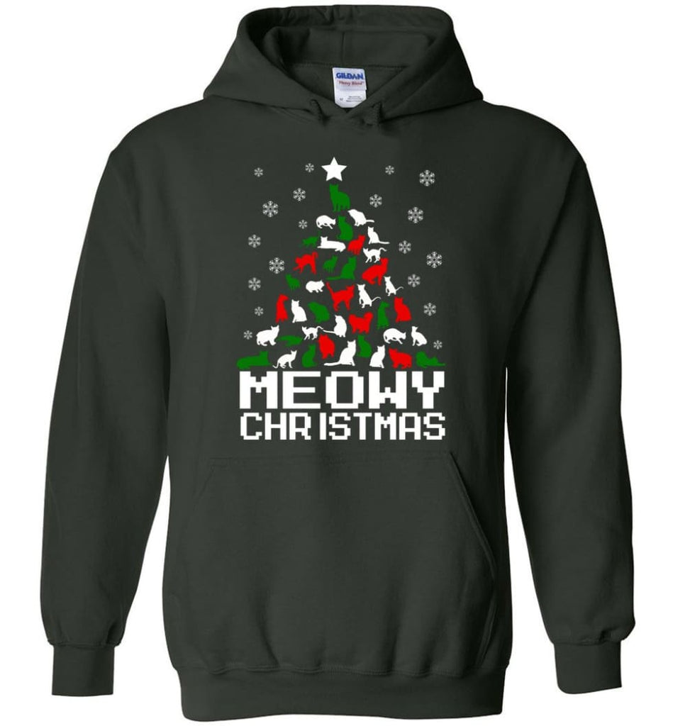 Meowy Christmas Sweater Cat Ugly Christmas Sweater Have A Meowy Catmas - Hoodie - Forest Green / M