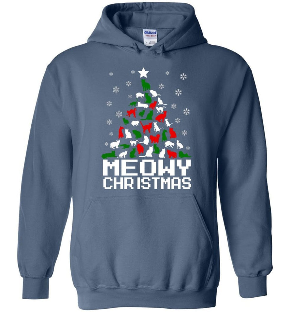 Meowy Christmas Sweater Cat Ugly Christmas Sweater Have A Meowy Catmas - Hoodie - Indigo Blue / M