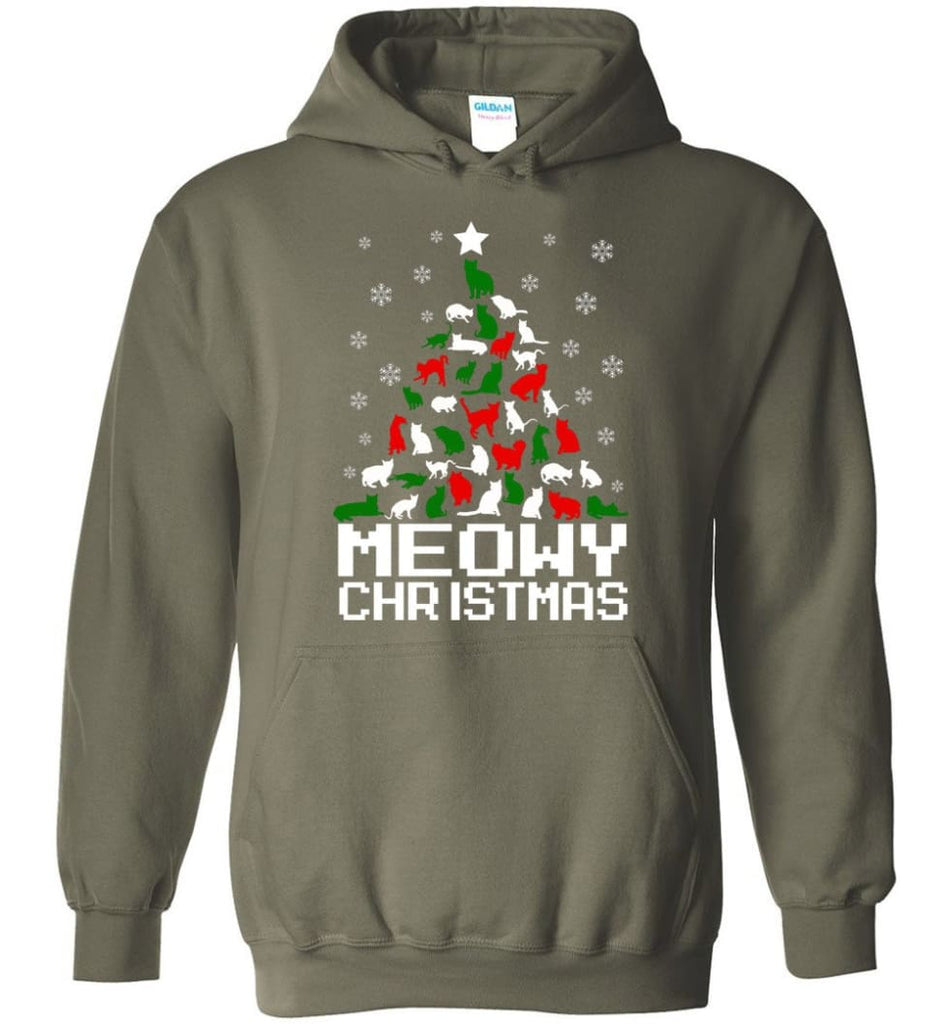 Meowy Christmas Sweater Cat Ugly Christmas Sweater Have A Meowy Catmas - Hoodie - Military Green / M