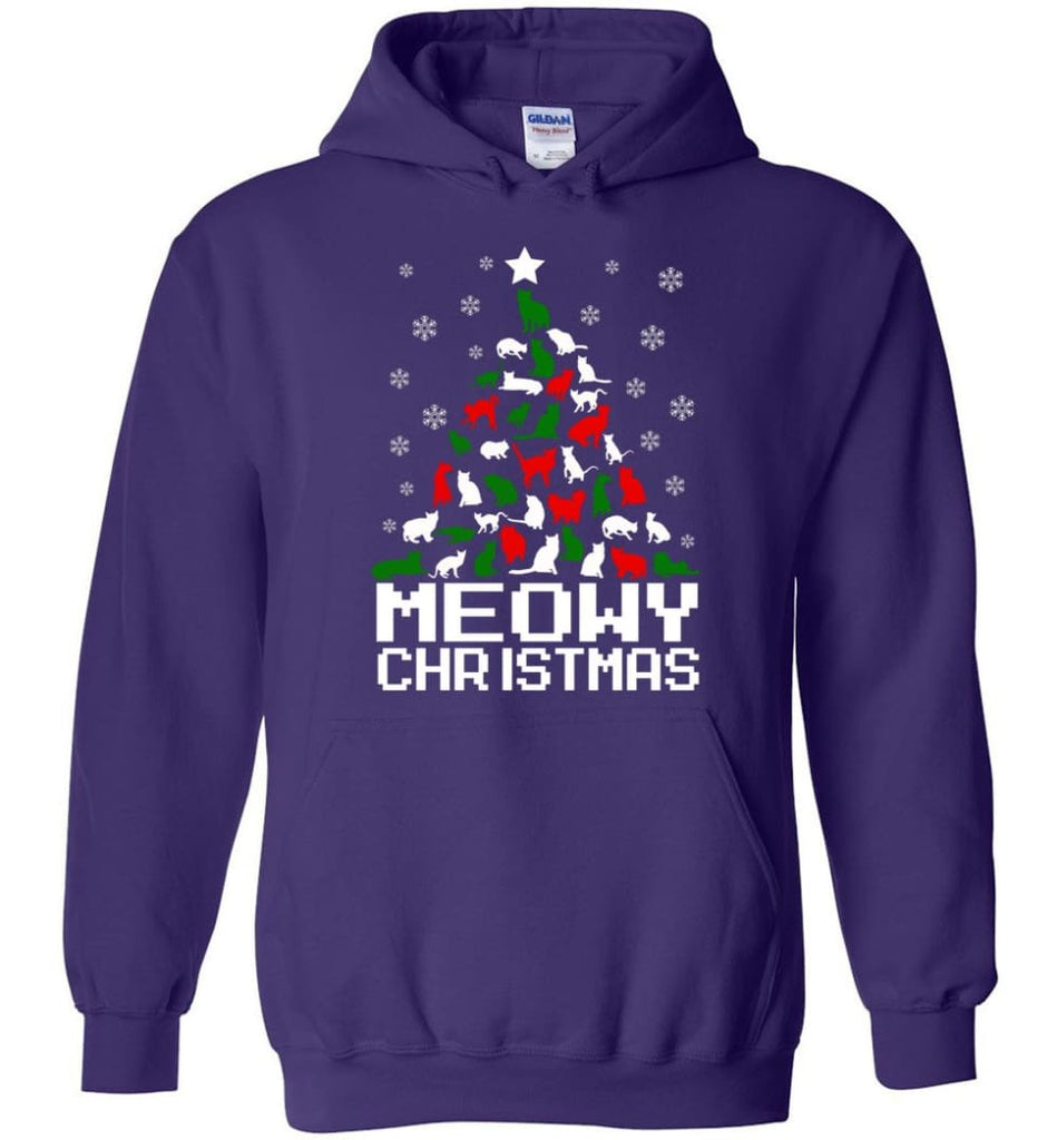 Meowy Christmas Sweater Cat Ugly Christmas Sweater Have A Meowy Catmas - Hoodie - Purple / M