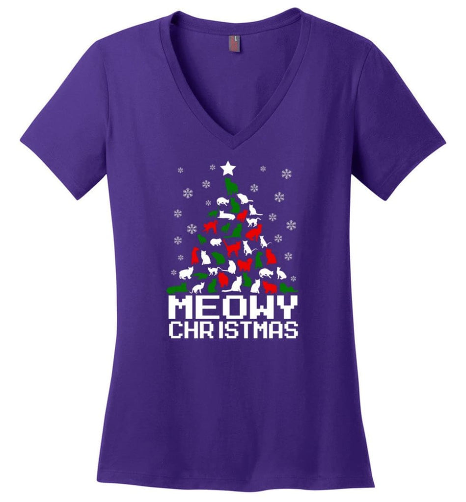 Meowy Christmas Sweater Cat Ugly Christmas Sweater Have A Meowy Catmas - Ladies V-Neck - Purple / M