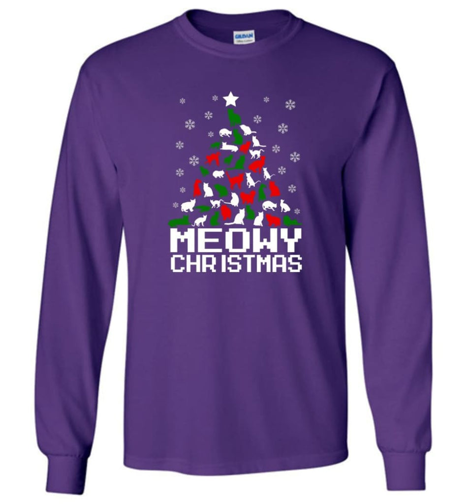 Meowy Christmas Sweater Cat Ugly Christmas Sweater Have A Meowy Catmas - Long Sleeve T-Shirt - Purple / M