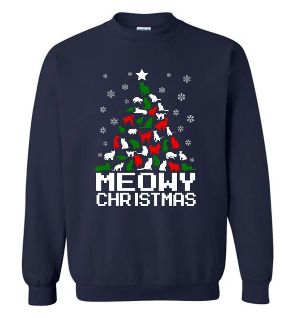Meowy Christmas Sweater Cat Ugly Christmas Sweater Have A Meowy Catmas Sweatshirt - Navy / M