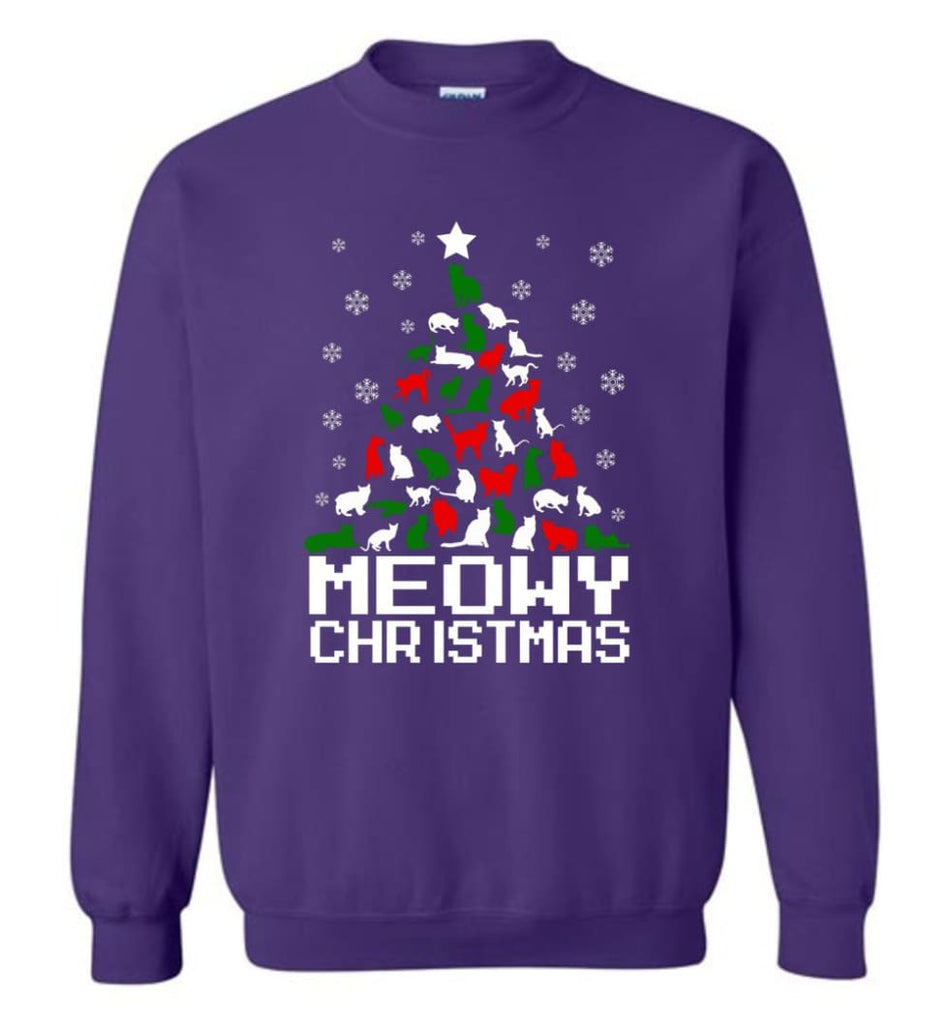 Meowy Christmas Sweater Cat Ugly Christmas Sweater Have A Meowy Catmas Sweatshirt - Purple / M