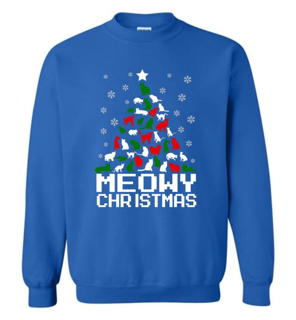 Meowy Christmas Sweater Cat Ugly Christmas Sweater Have A Meowy Catmas Sweatshirt - Royal / M