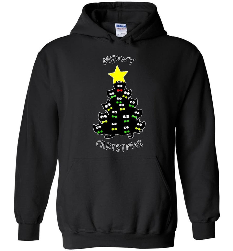 Meowy Christmas Sweatshirt Merry Meowy Xmas Gift for Cat Lovers - Hoodie - Black / M