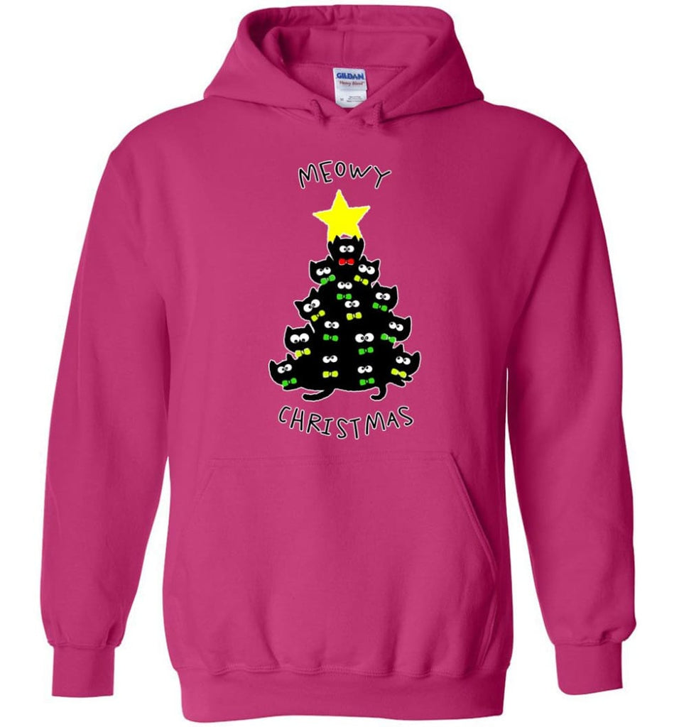 Meowy Christmas Sweatshirt Merry Meowy Xmas Gift for Cat Lovers - Hoodie - Heliconia / M