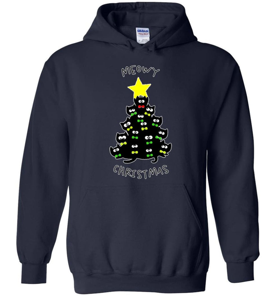 Meowy Christmas Sweatshirt Merry Meowy Xmas Gift for Cat Lovers - Hoodie - Navy / M