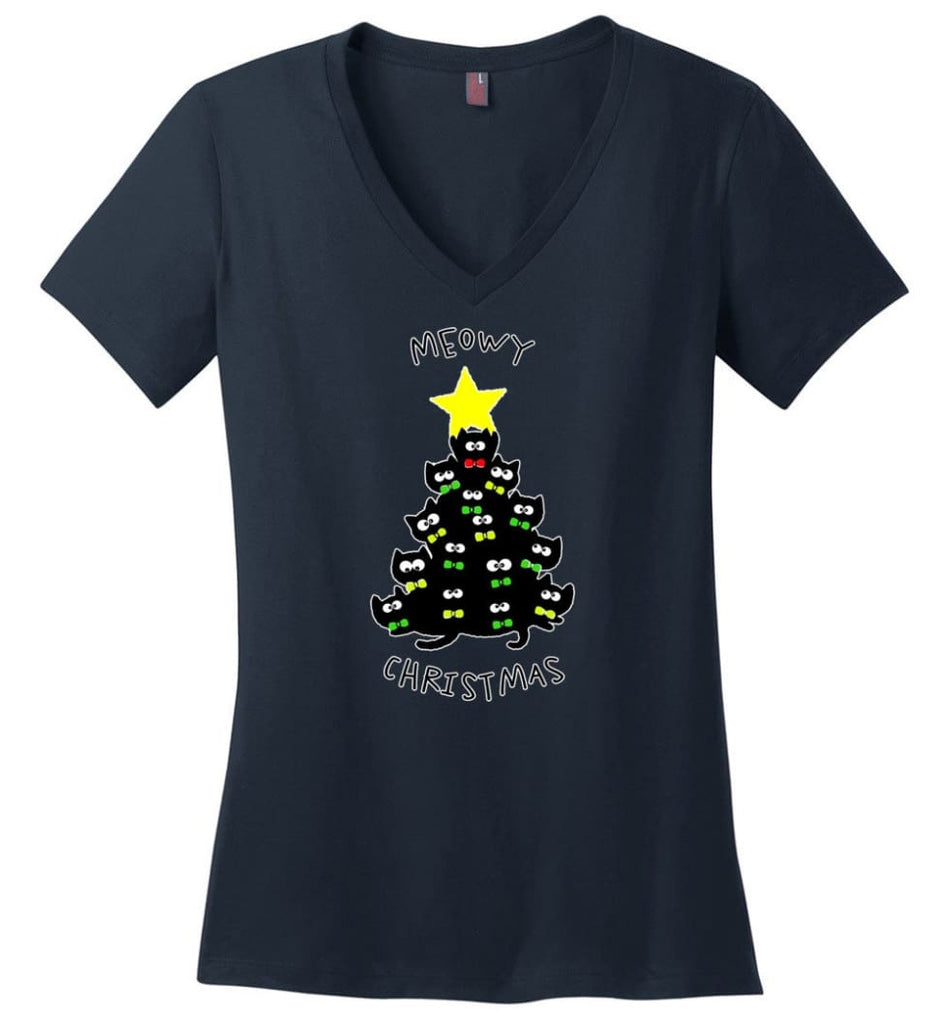 Meowy Christmas Sweatshirt Merry Meowy Xmas Gift for Cat Lovers - Ladies V-Neck - Navy / M