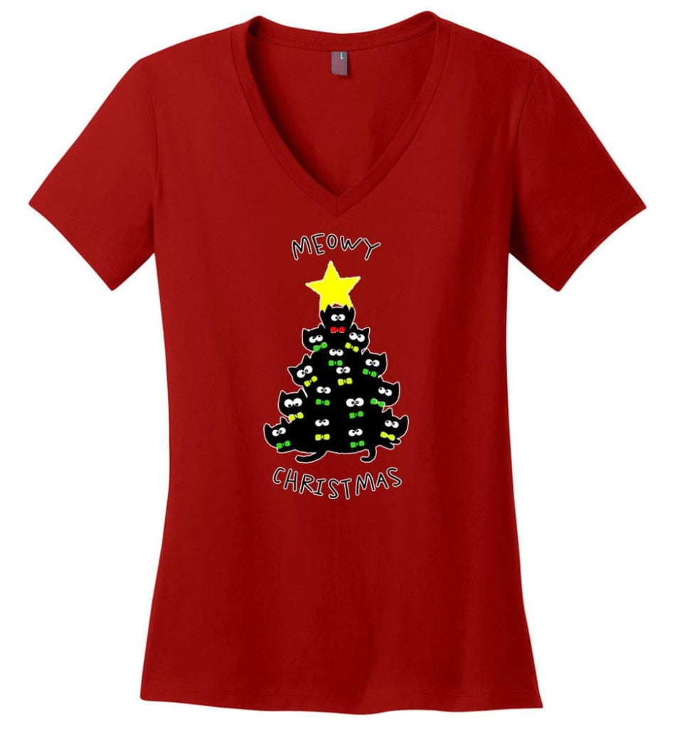 Meowy Christmas Sweatshirt Merry Meowy Xmas Gift for Cat Lovers - Ladies V-Neck - Red / M
