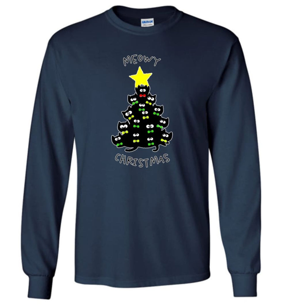 Meowy Christmas Sweatshirt Merry Meowy Xmas Gift for Cat Lovers - Long Sleeve T-Shirt - Navy / M