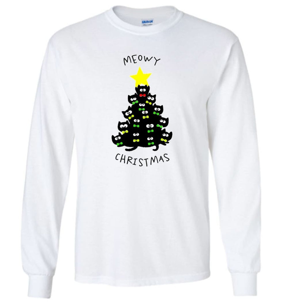 Meowy Christmas Sweatshirt Merry Meowy Xmas Gift for Cat Lovers - Long Sleeve T-Shirt - White / M