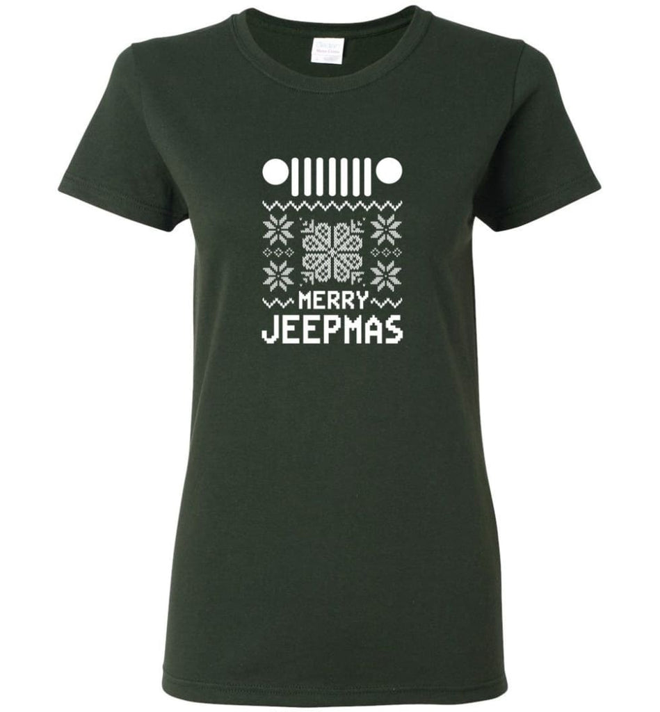Merry Jeepmas Jeep Ugly Christmas Sweater Cool Jeep Hoodies T shirt Sweatshirt Women T-shirt - Forest Green / M