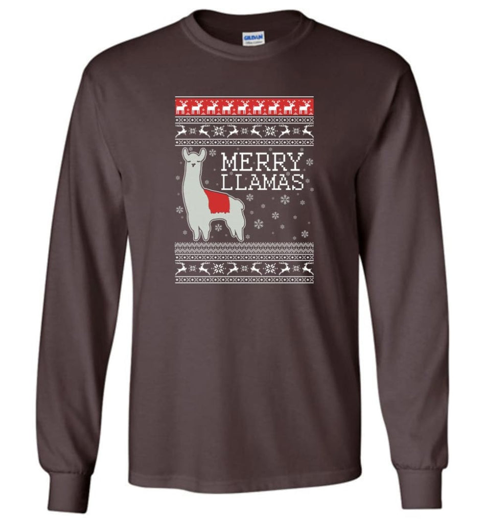 Merry Llamas Holiday Sweatshirt Merry Llamas Christmas Sweater Party Gifts Long Sleeve T-Shirt - Dark Chocolate / M