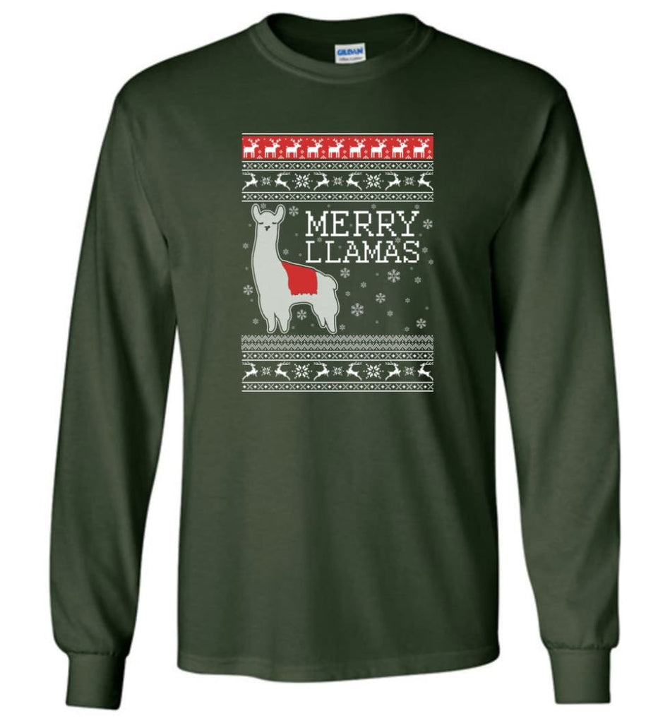 Merry Llamas Holiday Sweatshirt Merry Llamas Christmas Sweater Party Gifts Long Sleeve T-Shirt - Forest Green / M