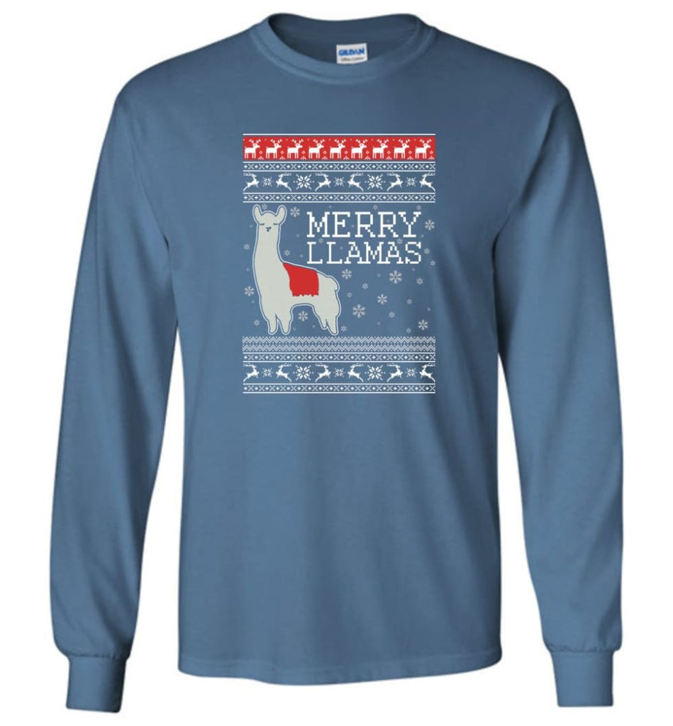 Merry Llamas Holiday Sweatshirt Merry Llamas Christmas Sweater Party Gifts Long Sleeve T-Shirt - Indigo Blue / M