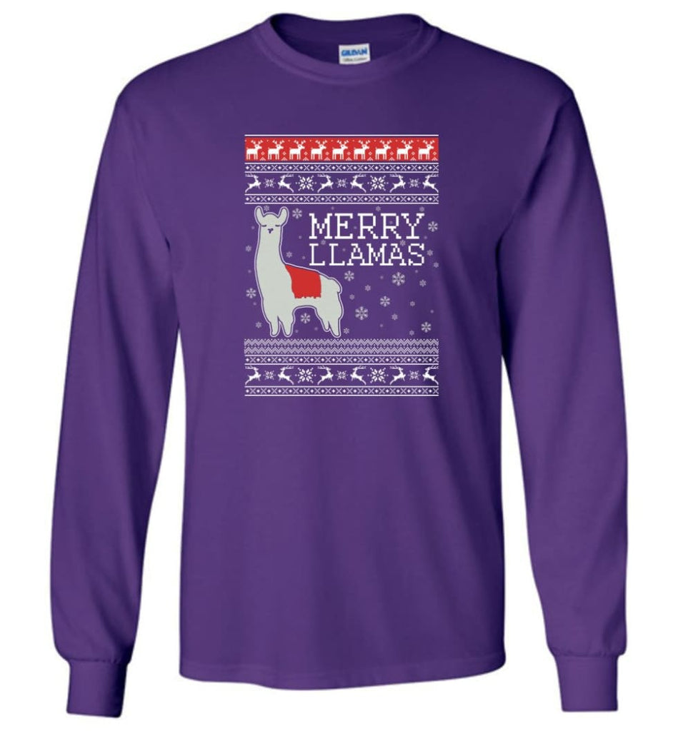 Merry Llamas Holiday Sweatshirt Merry Llamas Christmas Sweater Party Gifts Long Sleeve T-Shirt - Purple / M