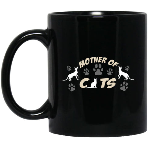 Mom Cat Lovers Gift Mother Of Cats 11 oz Black Mug - Black / One Size - Drinkware