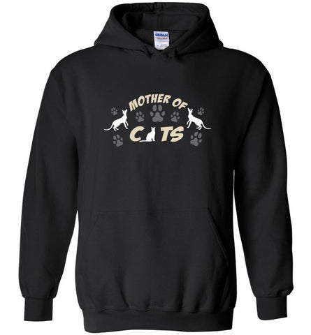 Mom Cat Lovers Gift Mother Of Cats - Hoodie - Black / M