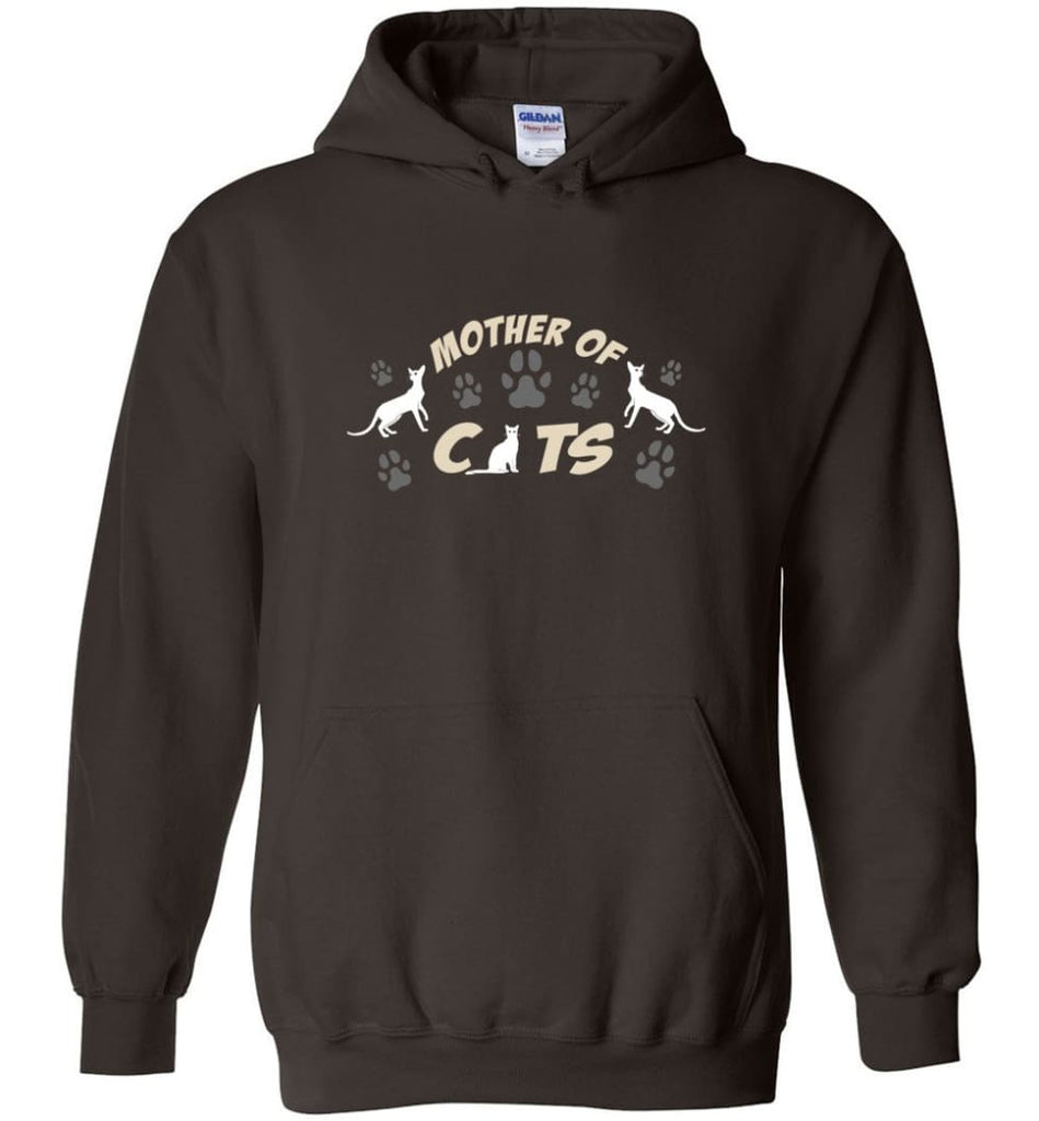 Mom Cat Lovers Gift Mother Of Cats - Hoodie - Dark Chocolate / M