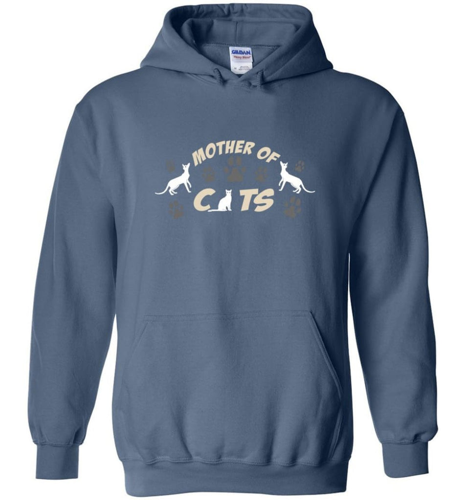 Mom Cat Lovers Gift Mother Of Cats - Hoodie - Indigo Blue / M