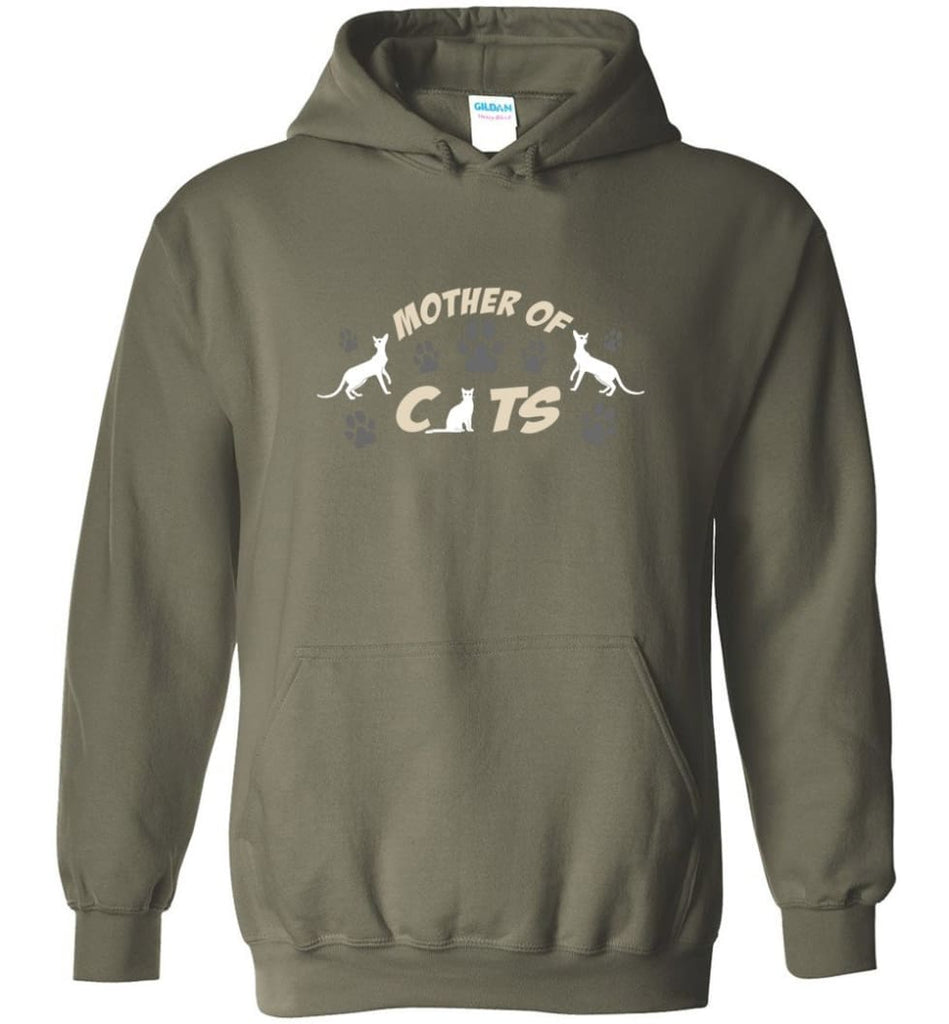 Mom Cat Lovers Gift Mother Of Cats - Hoodie - Military Green / M
