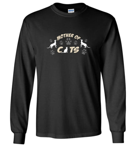 Mom Cat Lovers Gift Mother Of Cats - Long Sleeve T-Shirt - Black / M