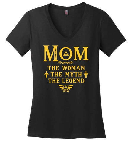 MOM The Woman The Myth The Legend Shirt Gifts For Mom - Ladies V-Neck - Black / M