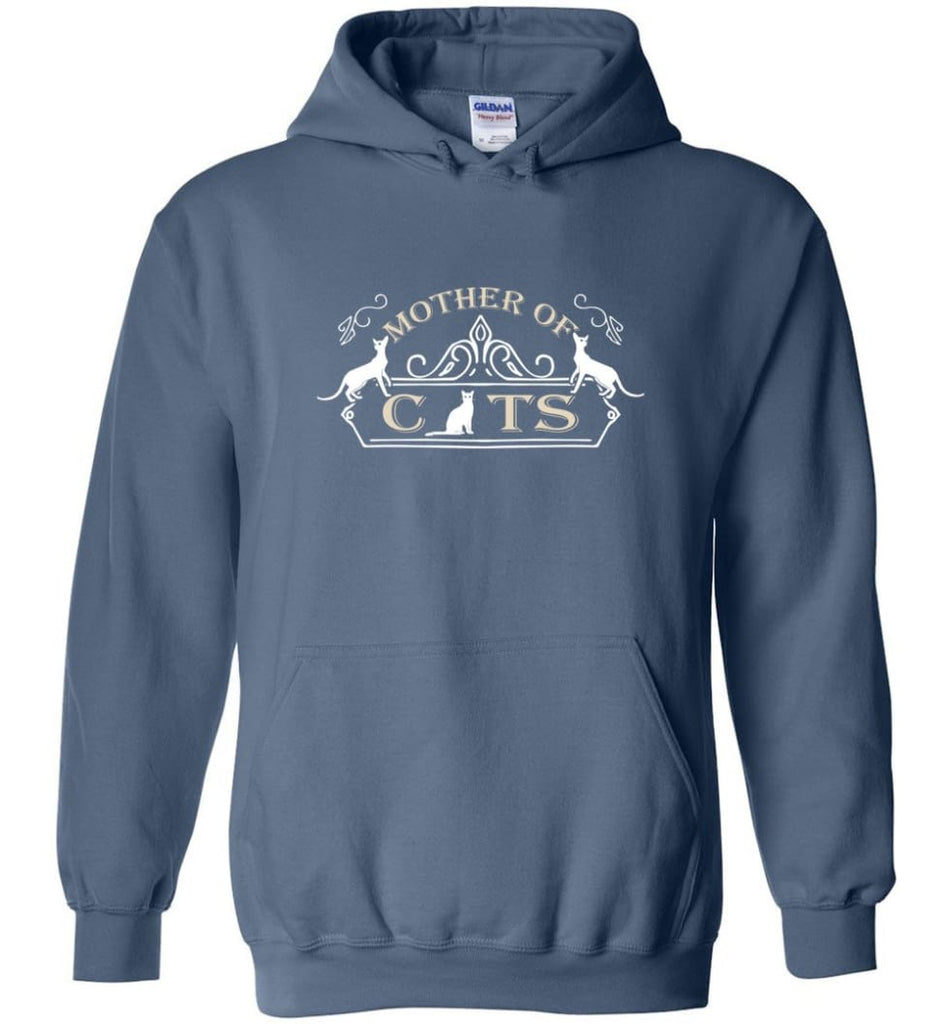 Mother Of Cats Gift for Cat Moms Cat Lovers - Hoodie - Indigo Blue / M