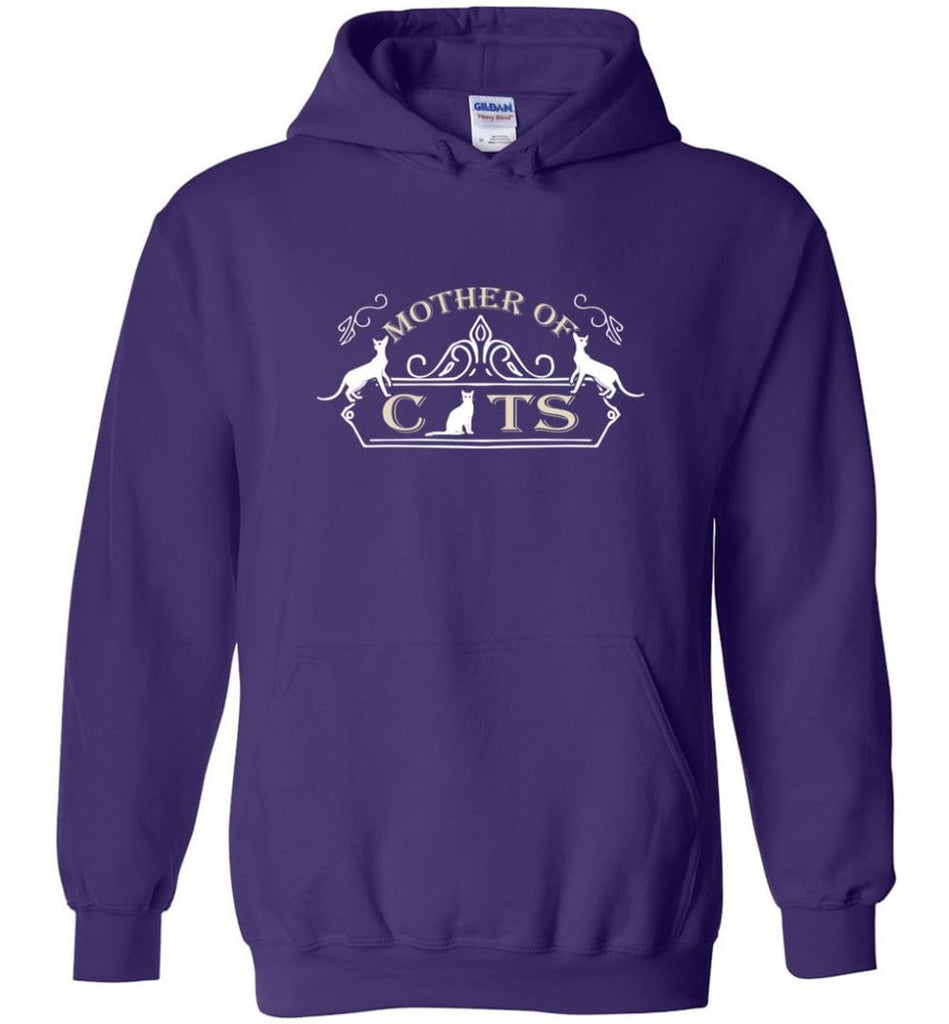 Mother Of Cats Gift for Cat Moms Cat Lovers - Hoodie - Purple / M