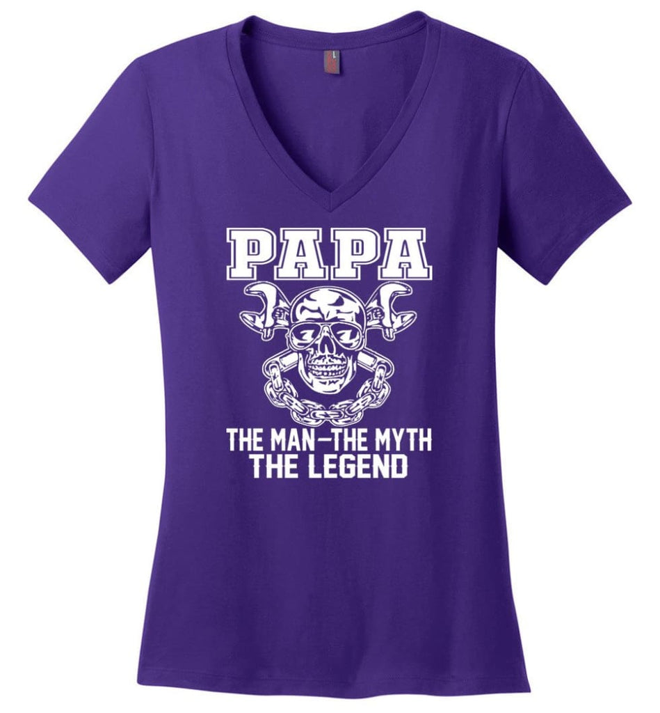 My Dad My Hero My Guadian Angel He Watched Over By Back Ladies V-Neck - Purple / M