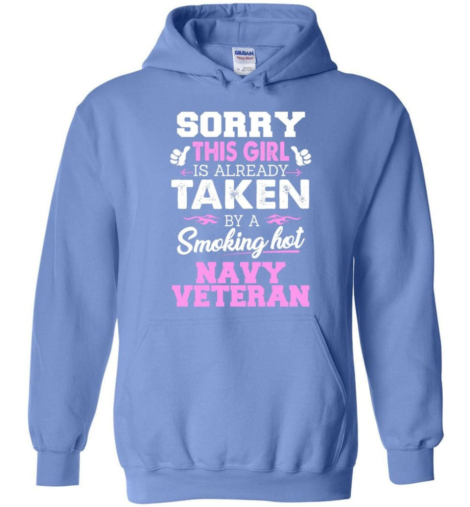 Navy Veteran Shirt Cool Gift for Girlfriend Wife or Lover - Hoodie - Carolina Blue / M