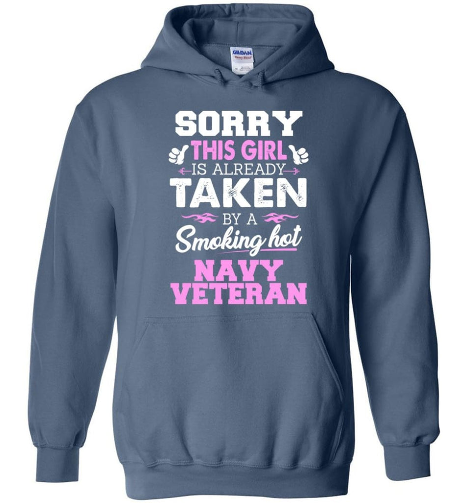 Navy Veteran Shirt Cool Gift for Girlfriend Wife or Lover - Hoodie - Indigo Blue / M