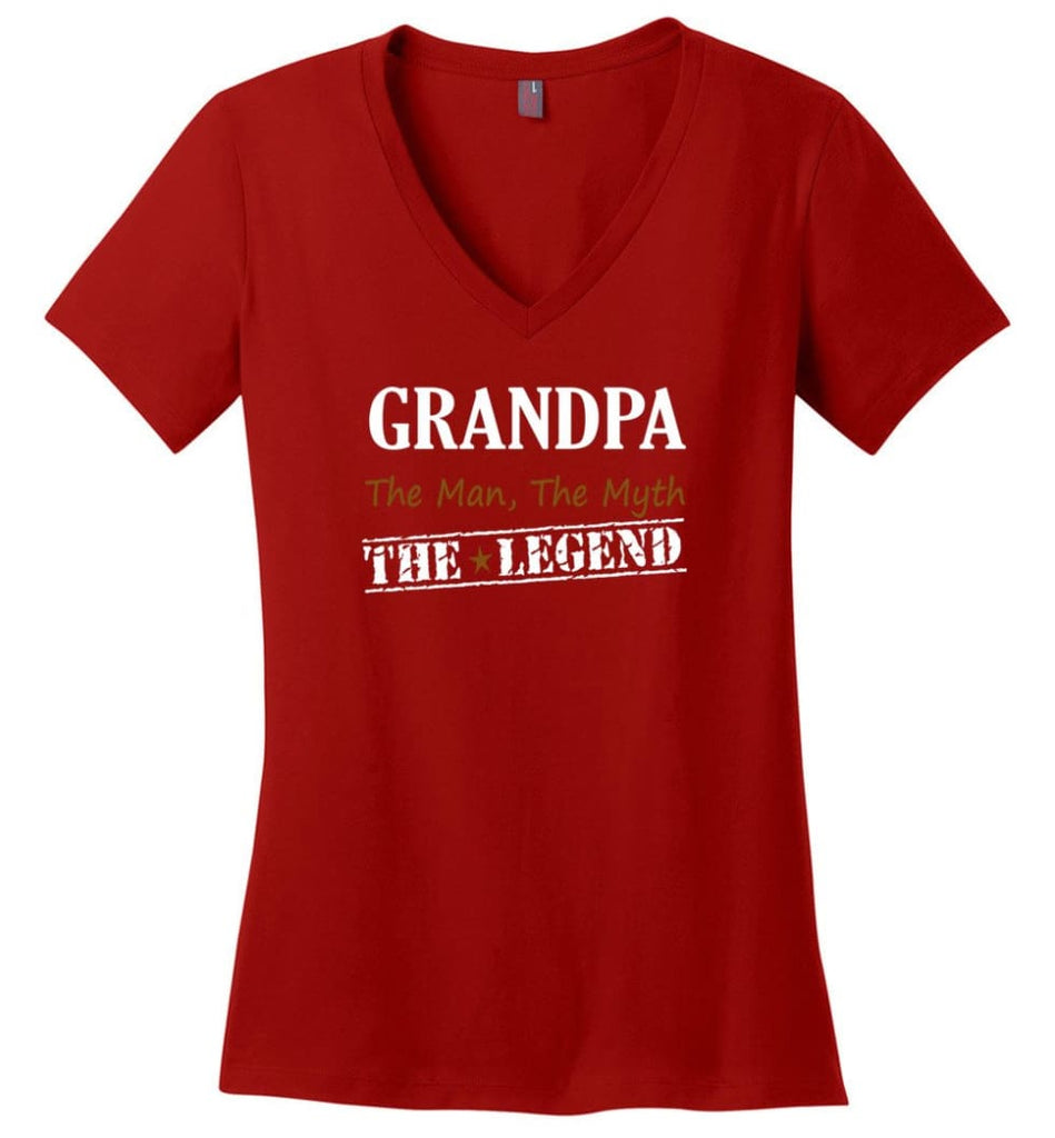 New Legend Shirt Grandpa The Man The Myth The Legend Ladies V-Neck - Red / M