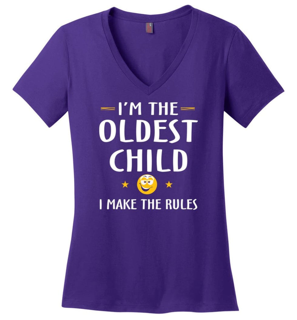 Oddest Child I Make The Rules Funny Oddest Child Ladies V-Neck - Purple / M