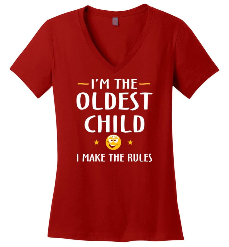 Oddest Child I Make The Rules Funny Oddest Child Ladies V-Neck - Red / M