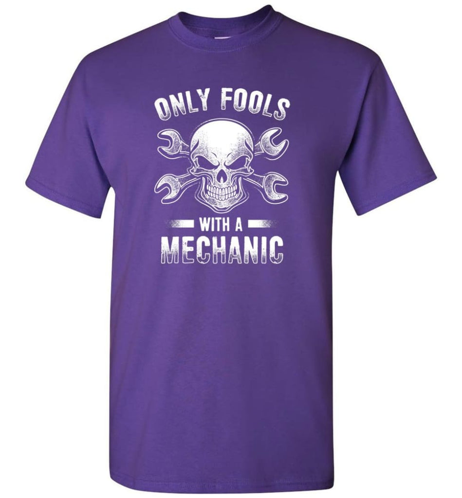 Only Fools With A Mechanic Shirt - Short Sleeve T-Shirt - Purple / S