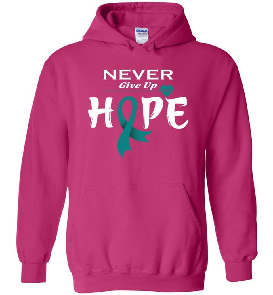 Ovarian Cancer Awareness Never Give Up Hope Hoodie - Heliconia / M