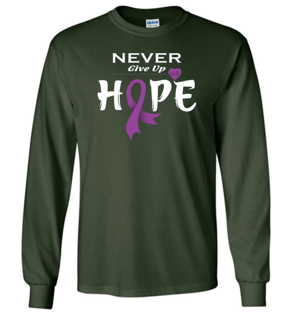 Pancreatic Cancer Awareness Never Give Up Hope Long Sleeve T-Shirt - Forest Green / M