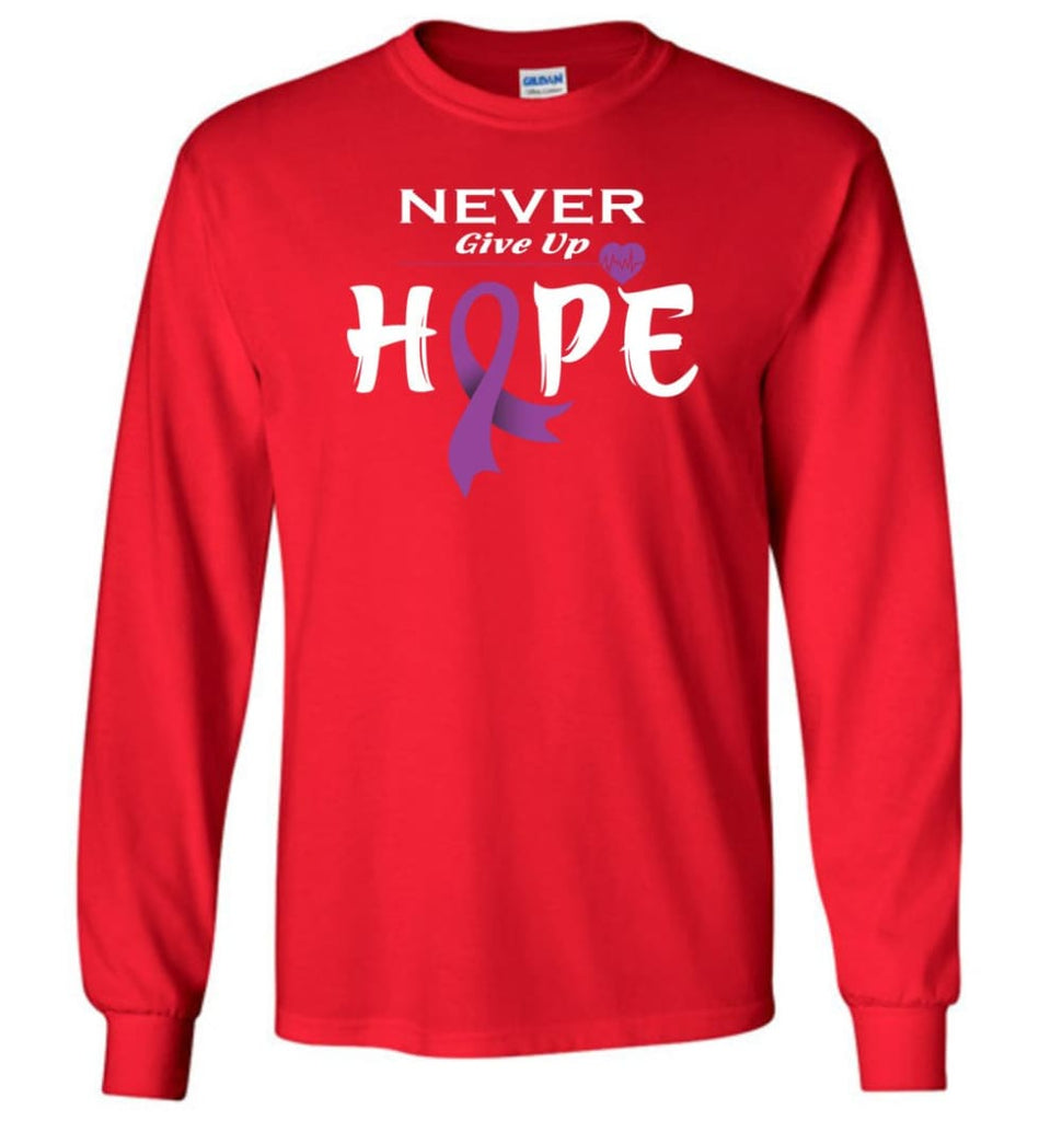 Pancreatic Cancer Awareness Never Give Up Hope Long Sleeve T-Shirt - Red / M