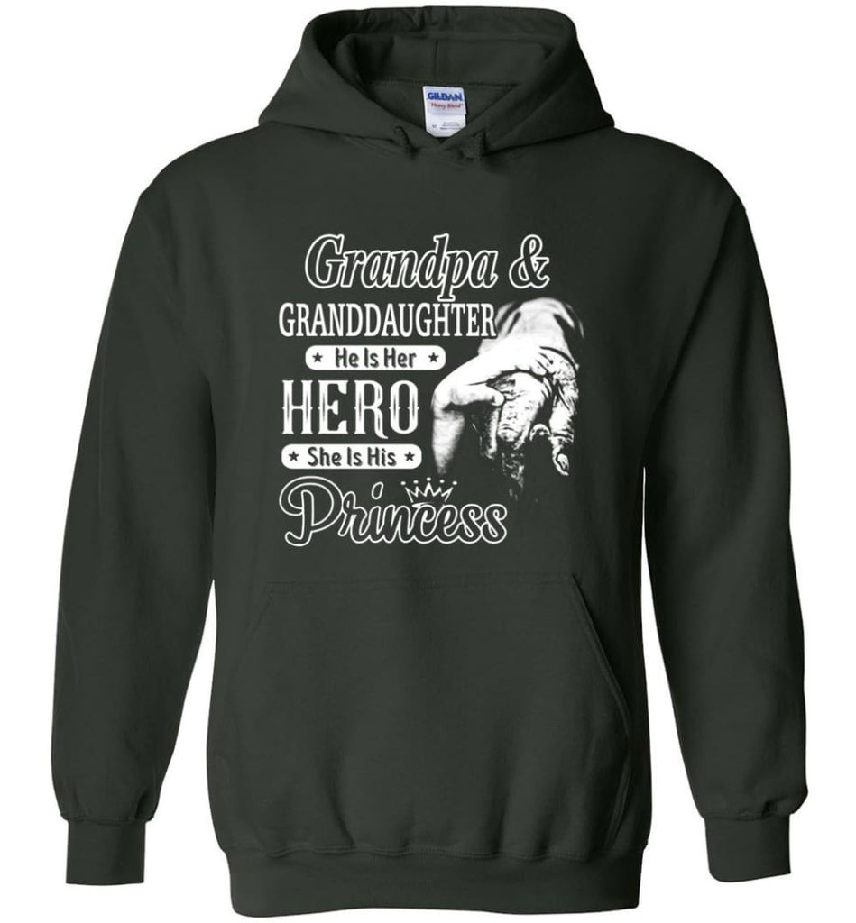 Papa and Granddaughter He Is Hero She Is Princess Shirt - Hoodie - Forest Green / M