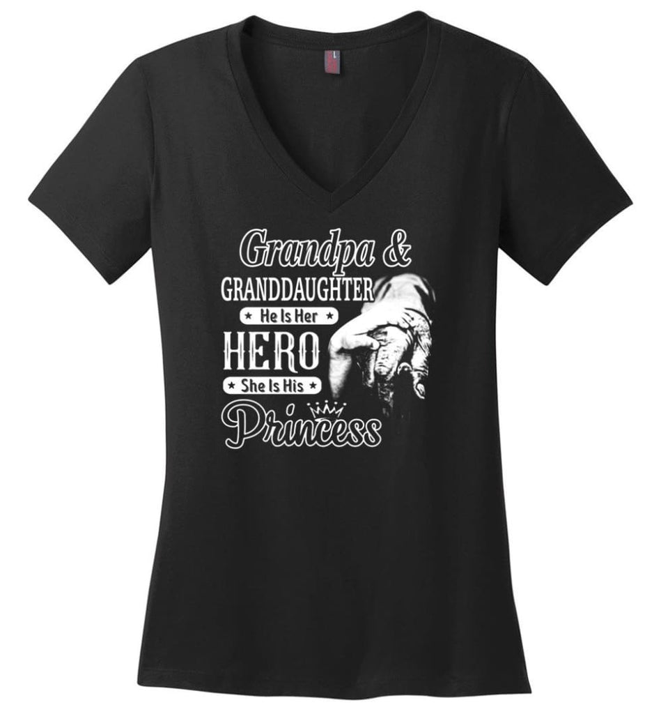 Papa and Granddaughter He Is Hero She Is Princess Shirt - Ladies V-Neck - Black / M