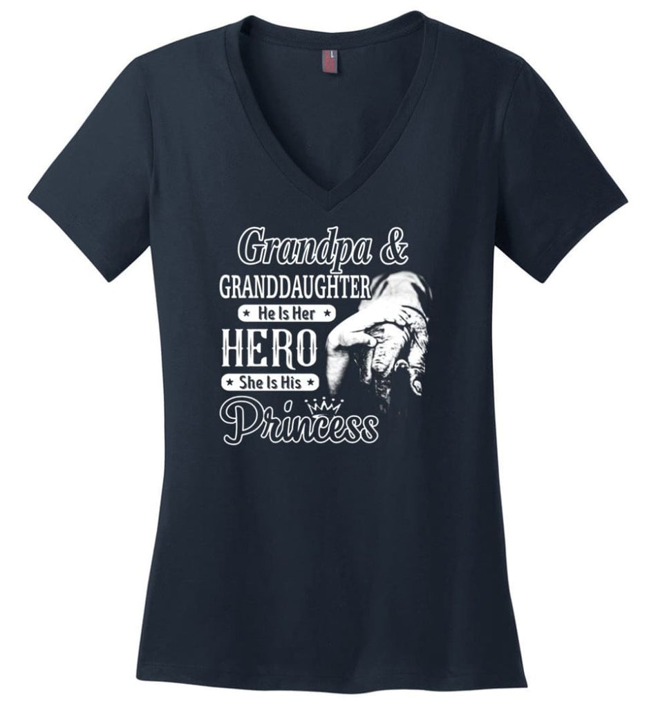 Papa and Granddaughter He Is Hero She Is Princess Shirt - Ladies V-Neck - Navy / M