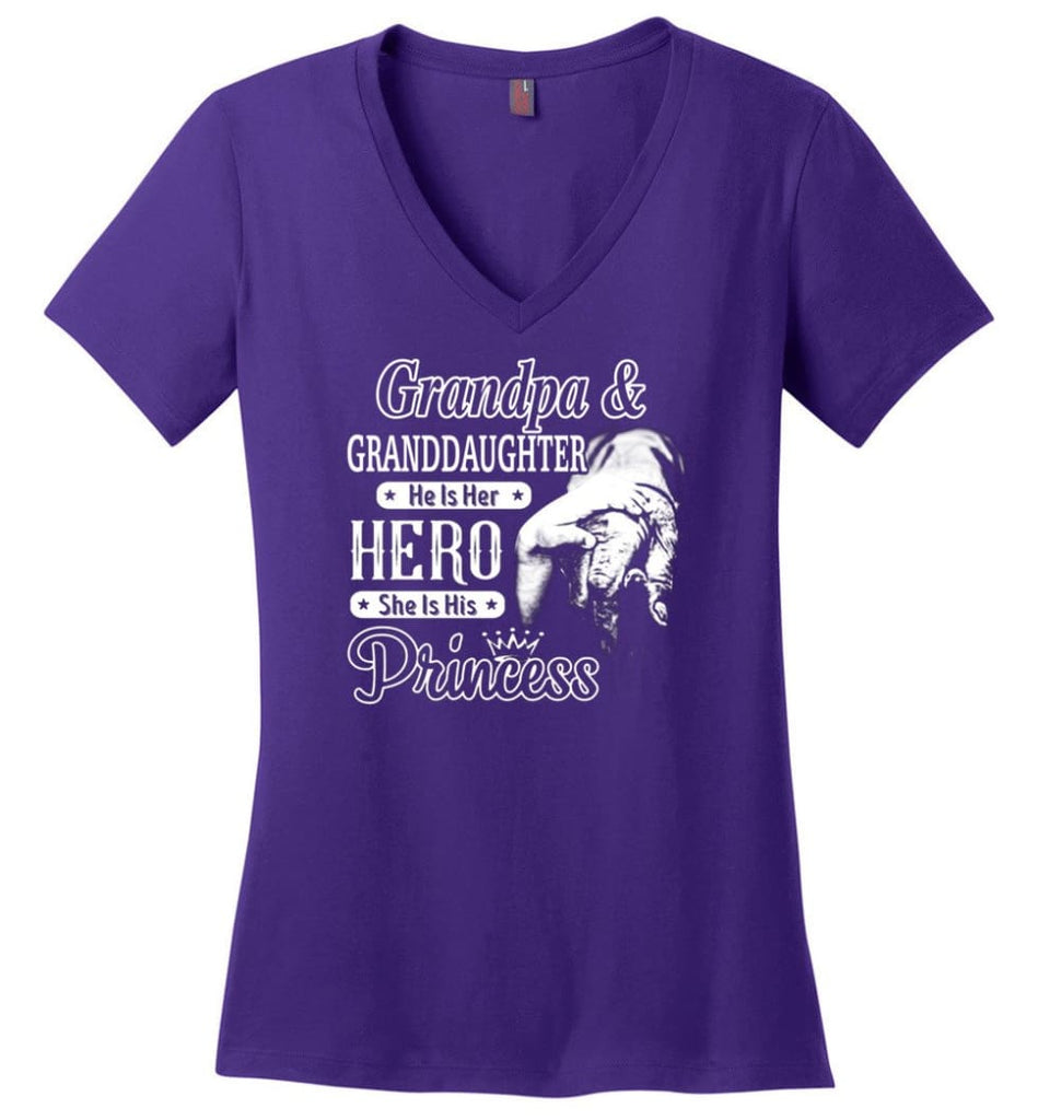 Papa and Granddaughter He Is Hero She Is Princess Shirt - Ladies V-Neck - Purple / M