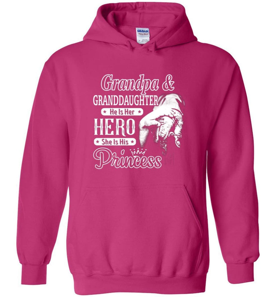 Papa & Granddaughter He Is Hero She Is Princess Shirt - Hoodie - Heliconia / M