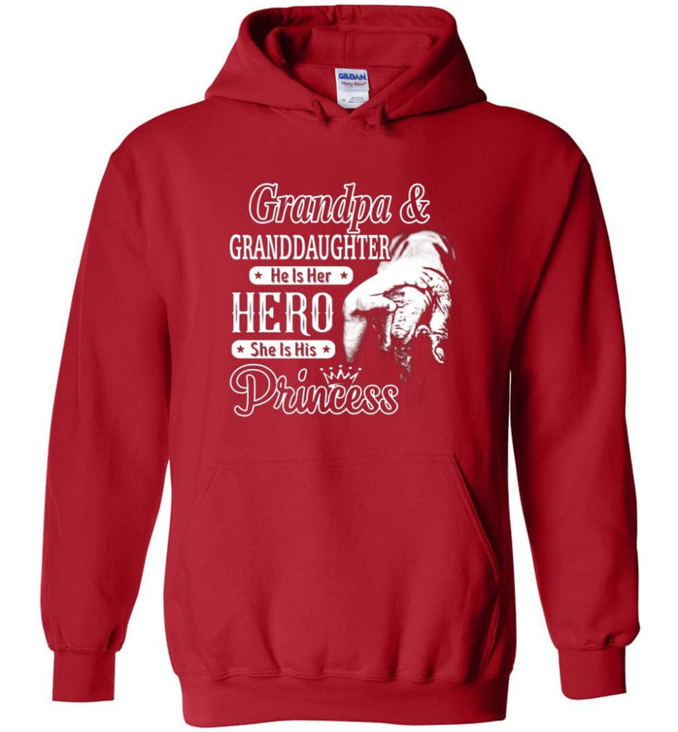 Papa & Granddaughter He Is Hero She Is Princess Shirt - Hoodie - Red / M