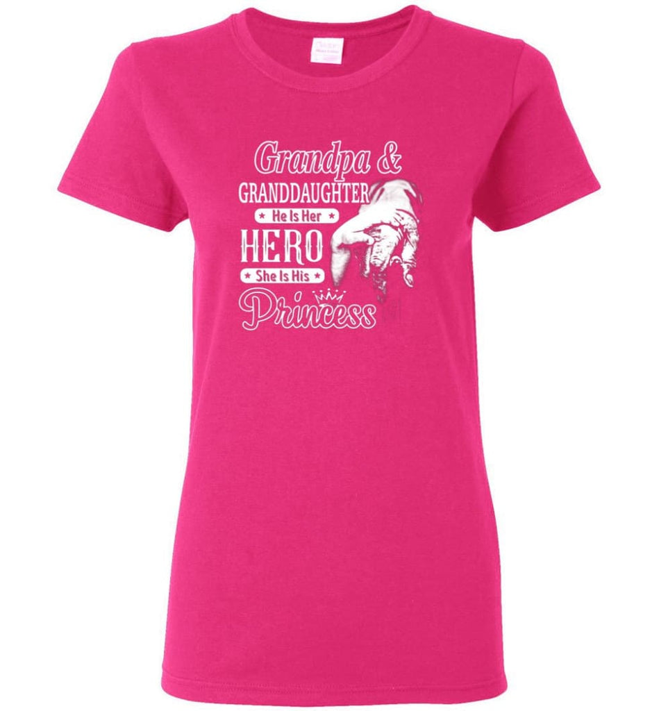 Papa & Granddaughter He Is Hero She Is Princess Shirt Women Tee - Heliconia / M